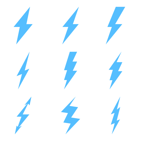 Vector Set of Thunder Lighting Icons Isolated on white background