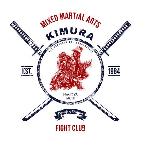 Fight Club Grunge druk met samurai zwaarden. vector illustratie