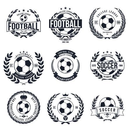 futbol soccer: F�tbol F�tbol Tipograf�a Dise�o de la insignia del vector Elemento