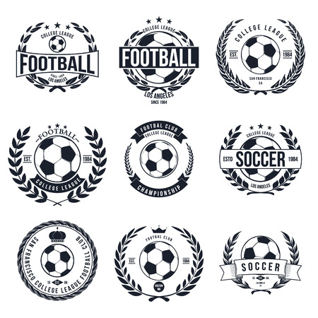 college football: Soccer Football Typography Badge Design Element vector