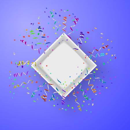 illustraion: Open box with fireworks from confetti vector illustraion
