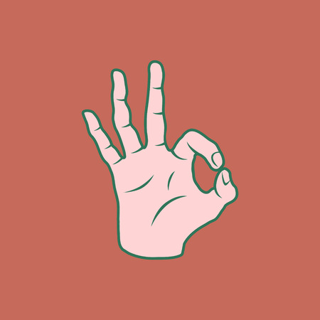 silk screen: Retro Screen Print Hand Giving The OK Sign Vector Illustration Illustration