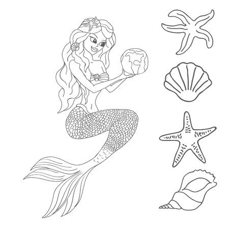damsel: Mermaid isolated on white background  Illustration