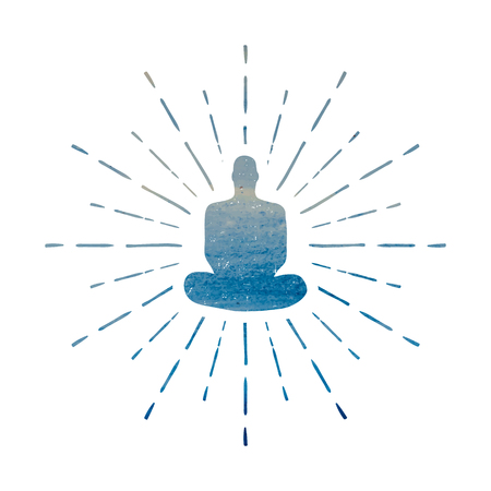 buddism: Meditation Human silhouette isolated on white background