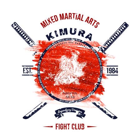 combate: Lucha de impresi�n Club de Grunge con las espadas del samurai Vectores