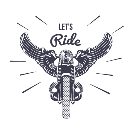 engine flame: Hand Drawn Vintage Motorcycle with Wings Illustration