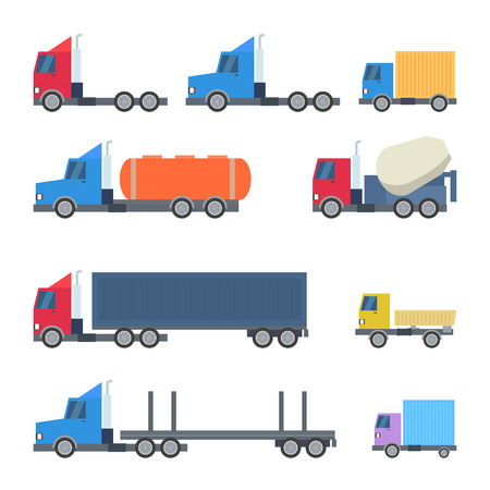 graphic icon: Set of Trucks Flat Design