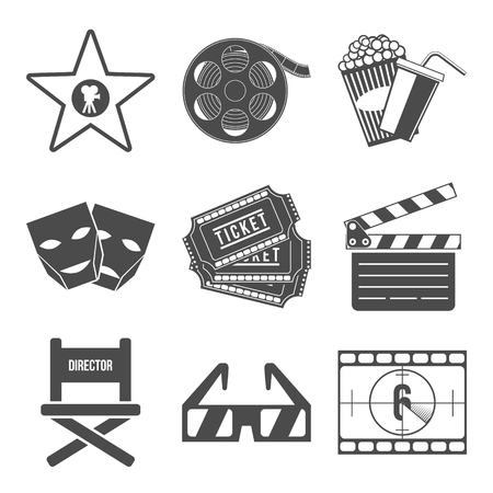 movie screen: Set of Movie Icons Flat design