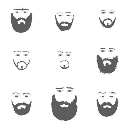 costume eye patch: Set of Beard isolated on white background