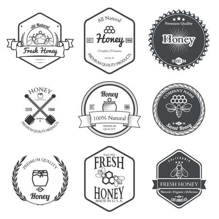 miel de abejas: Conjunto de miel Etiquetas Elementos de diseño