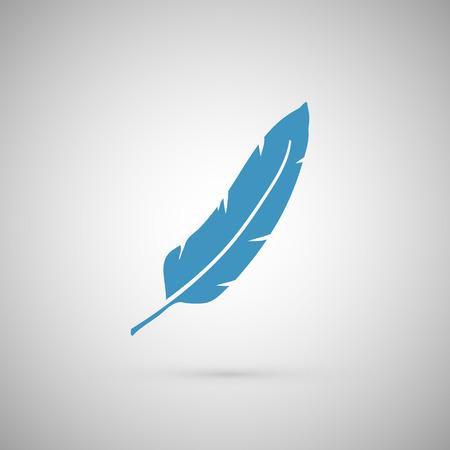 pluma blanca: Iconos de la pluma aislada en la ilustraci�n blanca