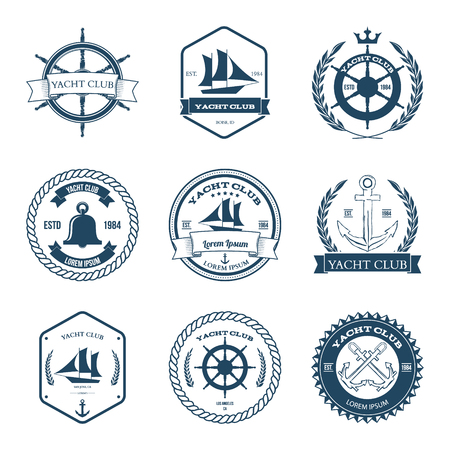 yacht: Set of Yacht Club Labels Design Elements Illustration