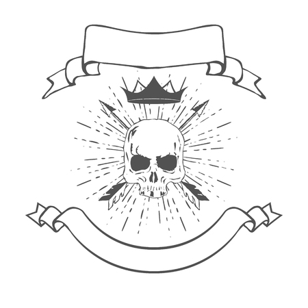 skull with crown: Skull with Crown and Banners Illustration