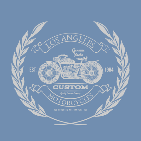 vintage grunge: Hand Drawn Vintage Motorcycle T-shirt Design Illustration