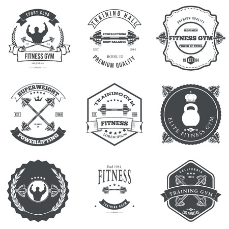 workout gym: Set of Fitness and Bodybuilding Labels Design Elements