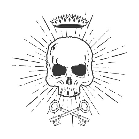 skull with crown: Skull with Crossed Keys and Crown Illustration