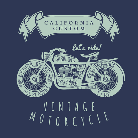 old cars: Vintage Hand Draw Motorcycle T-Shirt Design