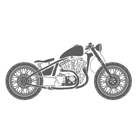 Hand Drawn Vintage Motorcycle Isolated Vector Illustration