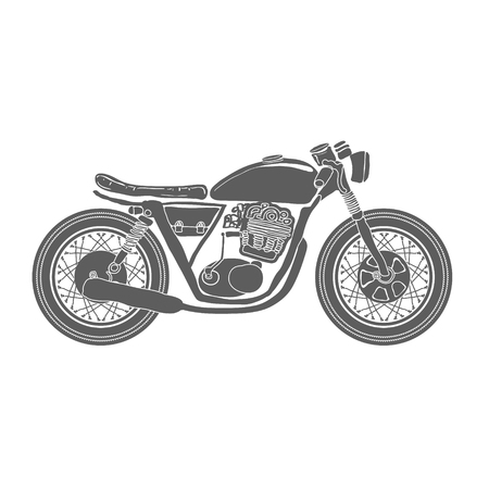 vintage cafe: Hand Drawn Vintage Motorcycle Isolated Vector Illustration