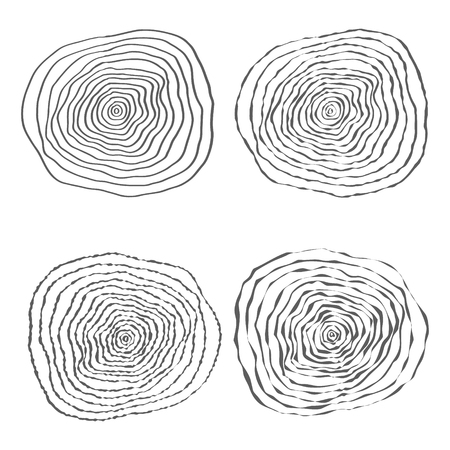 rings on a tree: Set of Four Tree Rings Vector Illustration