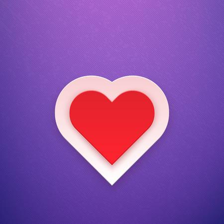 february 1: Red Heart on Purple Background Vector Illustration Illustration