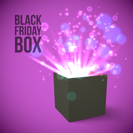 to surprise: Realistic Black Box with magic lights Vector Illustration