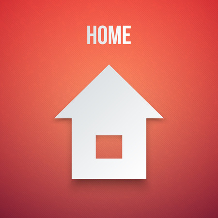 white house: Abstract Paper Home Icon isolated Vector illustration