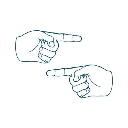 hands index finger: Two Human Hands Index Finger Hand Drawn Vector illustration