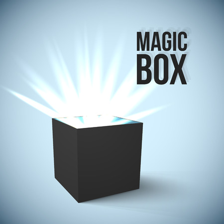 Realistic Black Box with magic lights Vector Illustration