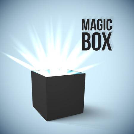 open present: Realistic Black Box with magic lights Vector Illustration
