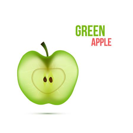 apple slice: Slice of Apple isolated on White Background Vector Illustration