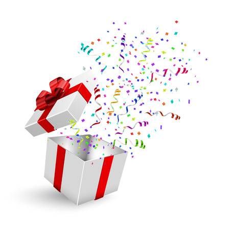 Opened 3d realistic gift box with red bow and confetti. Vector illustration. Иллюстрация