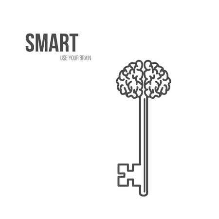 potential: Abstract Key with Handle like Brain. Vector illustration