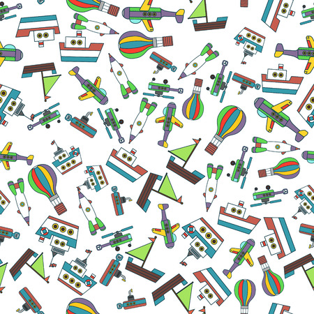 air liner: Colorful Ships and Aircrafts Transports Seamless Pattern Vector Illustration Stock Photo