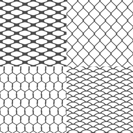 chainlink fence: Set of Wires Seamless Backgrounds illustration