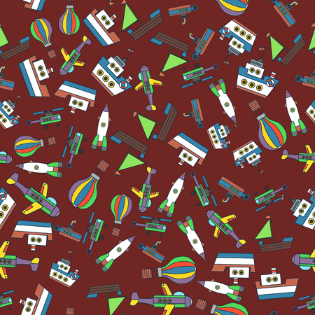 child rocket: Colorful Ships and Aircraft Transports Seamless Pattern Illustration
