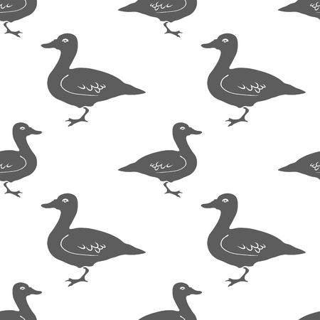 duck silhouette: Hand Drawn Duck silhouette seamless pattern.