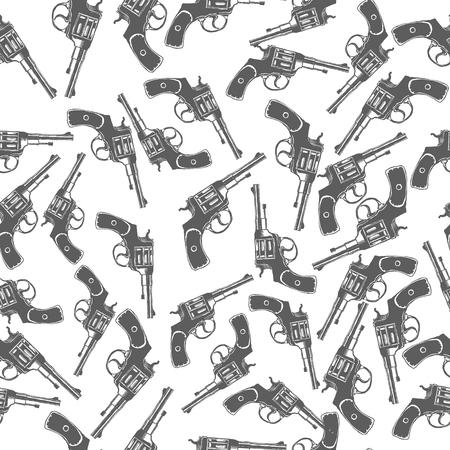 flintlock pistol: Hand Drawn Revolver Gun Seamless Pattern Vector illustration