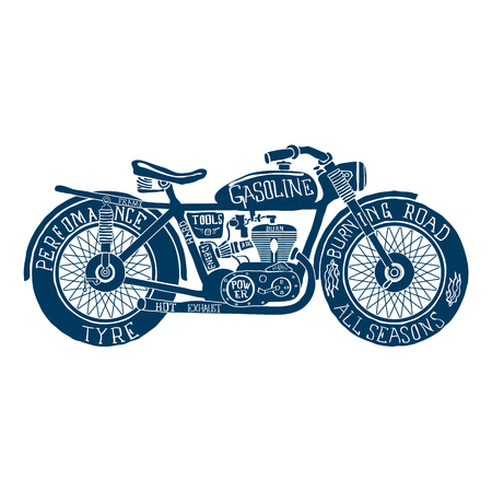 vintage clothing: Vintage Motorcycle Hand drawn Silhouette Illustration