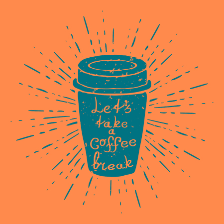 black board: Hand Drawn Coffee Cup with vintage sun burst Vector illustration Stock Photo