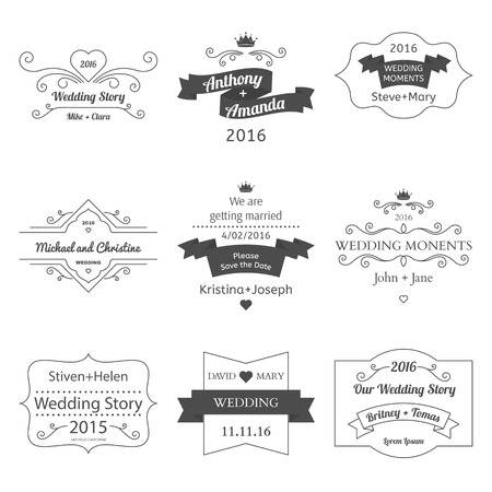 label tag: Set of Wedding Labels and Insignias Vector illustration