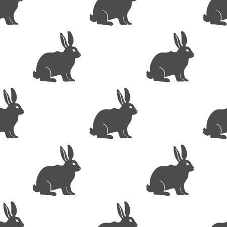 rabbit silhouette: Hare or Rabbit silhouette seamless pattern. Vector Illustration