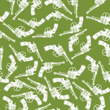 flintlock: Hand Drawn Revolver Gun Seamless Pattern illustration Stock Photo