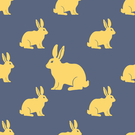 rabbit silhouette: Hare or Rabbit silhouette seamless pattern.