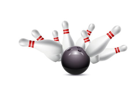 Verspreid kegelbanen en bowling bal. vector illustratie Stock Illustratie