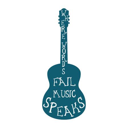 silueta de la guitarra con las palabras aisladas. ilustración vectorial Ilustración de vector
