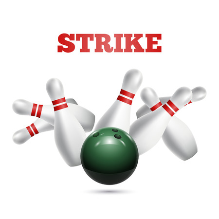 skittle: Scattered skittle and bowling ball. Vector illustration Illustration