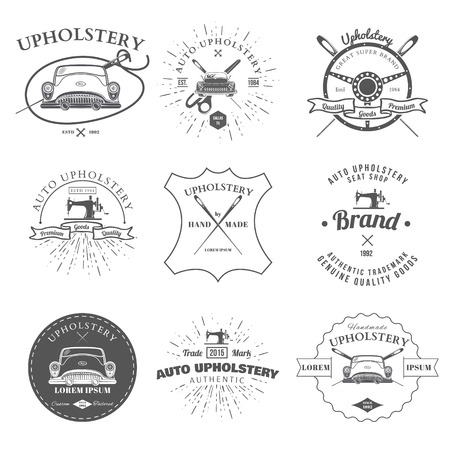 tailor seat: Auto Upholstery Vintage Badges and Labels Vector Illustration