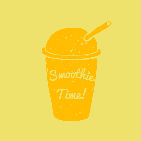 to go cup: Hand drawn smoothie to go cup illustration and smoothie time lettering Vector Illustration