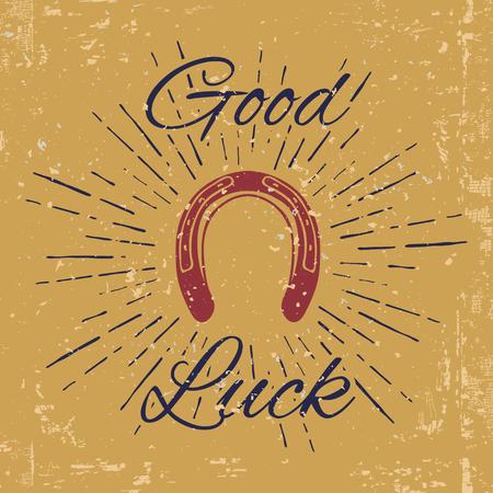 Hoefijzer en vintage Sun Burst met Good Luck tekst. Blacksmith Label. vector illustratie